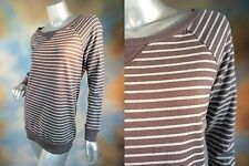 RETAIL $128 JOIE SOFT Briely Shale Heather Grey striped sweatshirt blouse top L