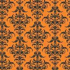 Fat Quarter Chillingsworth Halloween Damask Skull Orange Quilting Fabric Makower