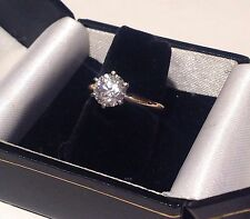 14K YELLOW GOLD SOLITAIRE ENGAGEMENT RING  W/BEAUTIFUL RUSSIAN CZ-Sz 6.5