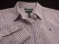 Ralph Lauren Womens Medium Long Sleeve Button-Down Multicolor Striped Shirt