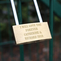 Engraved Personalised Any Message Padlock Valentines Anniversary Wedding Gift