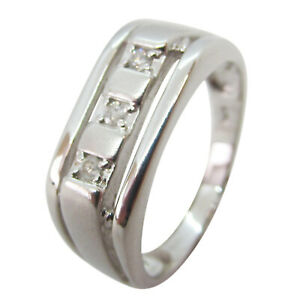 9ct White Gold 0.102ct Diamond Solid Signet Ring