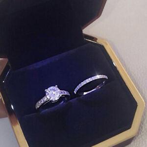 Exquisite 925 Silver Jewelry 2Pcs/Set White Sapphire Women Engagement Ring Sz 10