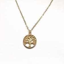 Gold Coloured Tree of Life Pendant Necklace Sacred Gothic Nature Velvet Gift Bag