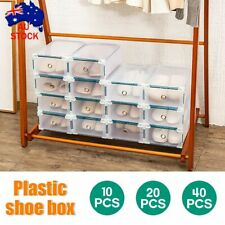 20PCS Storage Clear Drawer Shoe Boxes Stackable Plastic Organizer Wardrobe Box