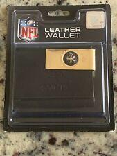New listing New Orleans Saints NFL Licensed Trifold Leather Wallet BLACK & Brass Money Clip