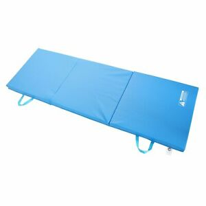 Tri-Fold Mat 6' x 2' Blue for Aerobics Gymnastics Yoga Exercise