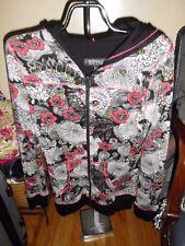 Women Buffalo David Bitton Black/Pink/White Floral Zip Hooded Sweater SZ M EUC