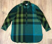 Burberry Brit ladies womens rare green big nova check shirt blouse size M