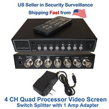4 Channel [4 CH] Quad Processor Video Screen Switch Splitter with 1 Amp Adapter