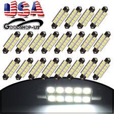 20Pcs White 44mm 5050 10SMD Festoon Car Interior Dome Map LED Lights Bulbs 211-2