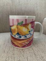 Vintage 1995 Starbucks NYC Pears Floral Breakfast Series Cup Mug Jackal Designs