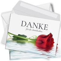 15 Trauer-Danksagung Set Karten Umschlag Dankeskarten Beerdigung Rote Rose