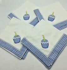 4 Pottery Barn PB Kids Cupcake Applique Cloth Napkins Blue Gingham Check