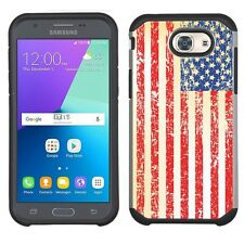 for Samsung Galaxy J3 Emerge (Vintage Usa Flag)Silver Hard/Tpu case cover