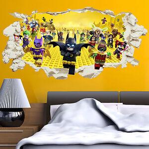 LEGO Batman Superhero in Wall Crack Kids Boy Bedroom Decal Art Sticker Gift XXL