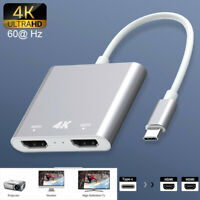 Type C to Dual 4K HDMI Hub Splitter Adapter For Macbook iPad Pro Switch PS4 HDTV