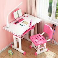 Adjustable Height Kids Study Desk Chair Children Student Writing Table with Lamp