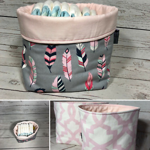 Fabric basket pink and grey feahters boho nursery storage basket nappy caddy