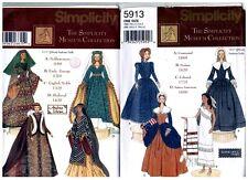 """Simplicity 5547 5913 Barbie 11 1/2"""" Doll Historic Dress Pattern s Vintage Uncut"""