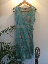 Uttam London : Teal Blue Floral Flower Patterned Wrap Summer Tea Dress : UK L