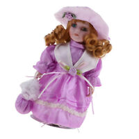 Handcrafted Winter Victorian Porcelain Girl Doll With Display Stand 8 Inch