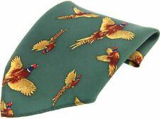 David Van Hagen Mens Flying Pheasant Country Silk Pocket Square - Forest Green