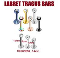 Labret Bars Tragus Bar Monroe Lip Nose Stud Ear Cartilage Helix Piercing CZ Gem
