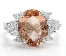 4.95 Carat Natural Morganite and Diamonds in 14K Solid White Gold Women Ring
