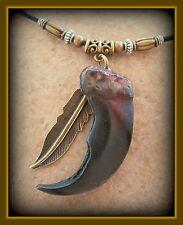BEAR CLAW replica NECKLACE JEWELRY - Wild Animal Pendant w/ Feather
