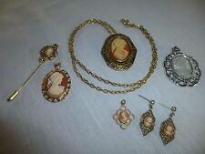 Lot Cameo Jewelry Operi Brooch Pendant Stickpin Pierced Earrings Vintage