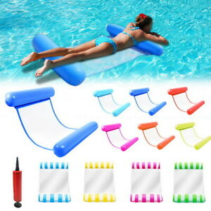 Inflatable Floating Water Hammock Float Pool Swimming Chair w/Pump Lounge Bed