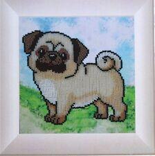 Hund Mops Stickpackung Perlen Stickset Stickvorlage Stickbild Mädchen Geschenk37