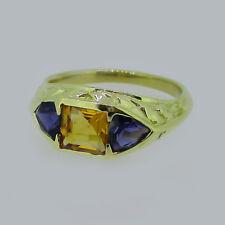 Estate 18KT Yellow Gold Tanzanite & Yellow Sapphire Ring Size 7.5
