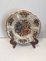 "Hand Painted Floral Multi Color Scalloped Edge ""LOV A MAMA 8.25"" Wall Hang Plate"