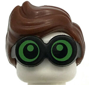 LEGO NEW REDDISH BROWN MINIFIGURE HAIR WAVY WITH BRIGHT GREEN LENSES PART