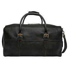 "NEW HIDESIGN LEATHER 20"" CARRY-ON CABIN DUFFEL BAG LUGGAGE WITH STRAP BLACK"