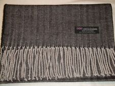 100% Cashmere Scarf Warm 72X12 Black Grey Tweed Herringbone Scotland Plaid Men