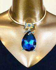 NECKLACE - LARGE BURMA ROYAL BLUE TEARDROP PENDANT