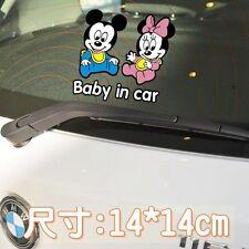 Cute Mickey and Minnie Baby in car Car Decal Car Sticker - 1pc