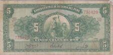 (N9-54) 1952 Peru 5 SOLES bank note (A)