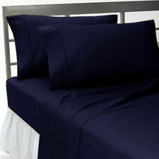 4 Pc or 6 Pc Bed Sheet Set Navy Blue Solid Egyptian Cotton 1000 Tc Us & Rv Sizes