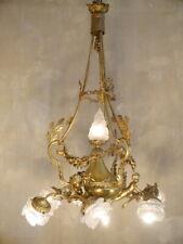 LARGE ANTIQUE CHANDELIER BRASS SATINED GLASS CHERUBS ART NOUVEAU ROSE BOWLs 2x