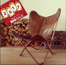 LEATHER BUTTERFLY HAND MADE CHAIR -RICH BROWN/ LEATHER CHAIR/ RELAXING CHAIR
