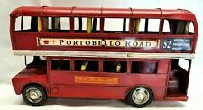More details for metal portobello road double decker sightseeing red bus model ornament 20 cm