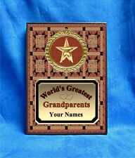 Grandparents World's Greatest Custom Personalized Award Plaque Gift Quilt Star