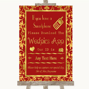Red & Gold Wedpics App Photos Personalised Wedding Sign