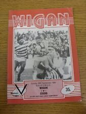 30/09/1984 Rugby League Programme: Wigan v Leeds  (slight creasing). Thanks for