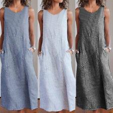 Womens Striped Cotton Linen Maxi Dress Sleeveless Daily Casual Long Sundress
