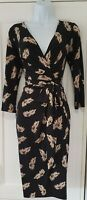 Womens Phase Eight Black Nude Feather Print Belted Crossover Draped Dress 8.